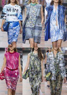 Kenzo S/S 2014-Slogan T-Shirt Graphics – Fish Motifs – Crosshatched and Scribbled – Watery Prints – Fine Coloured Pencil Lines – Illustrative Drawing Style...