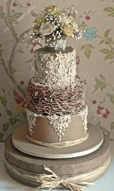 fancy wedding cakes Lace, Ruffles and Vintage Rose Wedding cake Wedding Cake Prices, Floral Wedding Cakes, Wedding Cake Rustic, Wedding Cakes With Cupcakes, Wedding Cake Designs, Wedding Cake Toppers, Rose Wedding, Beautiful Wedding Cakes, Gorgeous Cakes