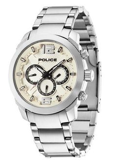 police men s brown leather lancer watch 13453jsu 61 online price police triumph men s quartz watch beige dial chronograph display and silver stainless steel bracelet 13934js
