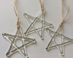 Fused Glass Star Christmas Tree Decoration Ornament Window Hanging Gift Xmas Present Glass Christmas Decorations, Stained Glass Christmas, Glass Christmas Ornaments, Christmas Stars, Fused Glass Ornaments, Fused Glass Jewelry, Fused Glass Art, Glass Fusion Ideas, Glass Fusing Projects