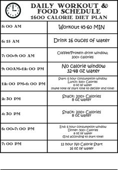 My weekday workout/diet starting Tomorrow!