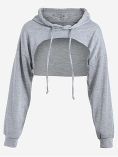 Zaful Cut Out Drawstring Crop Hoodie Found on my new favorite app Dote Shopping Kpop Fashion Outfits, Girls Fashion Clothes, Edgy Outfits, Swag Outfits, Cute Casual Outfits, Trendy Fashion, Spring Fashion, Crop Top Hoodie, Cropped Hoodie