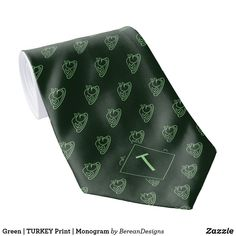 Green | TURKEY Print | Monogram Neck Tie Fall Home Decor, Autumn Home, Autumn Fall, Holiday Cards, Christmas Cards, Custom Ties, Unique Image, Christmas Card Holders, Keep It Cleaner