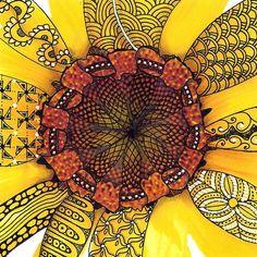 Weekly Challenge 43 - Sunflower by ziggiau Tangle Doodle, Tangle Art, Doodles Zentangles, Zen Doodle, Zentangle Patterns, Doodle Art, Sunflower Art, Mellow Yellow, Art Plastique