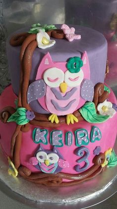 Owl cake made for a little girls birthday made by Lakeisha Hill / Keck with Sweet Tooth Mother and Daughter Cakes.