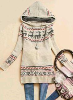beige hooded deer print sweater. sheinside.com