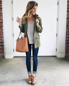 jeans, peep toe booties, military jacket, grey sweater