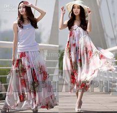Summer Dresses Plus Size Women Floral Print Chiffon Dress Strapless Ruffle Long Skirts Bohemian Beach Party Dresses From Sunny315, $22.75 | Dhgate.Com
