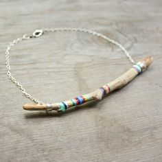 Hand Painted Wood Necklace Found Oregon Wood Earthy Necklace
