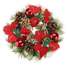 OULII Christmas Door Wreath with Pine Cones Poinsettia Christmas Balls Ornaments Red – Wall's Furniture & Decor Christmas Door Wreaths, Christmas Door Decorations, Christmas Balls, Wreaths For Front Door, Holiday Decor, Christmas Garlands, Flower Band, Ball Ornaments, Poinsettia