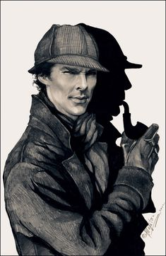 (Benedict) Sherlock in the original Sherlock Holmes attire   Ahhh! Whoever did this is awesome! Sherlock series on BBC is awesome