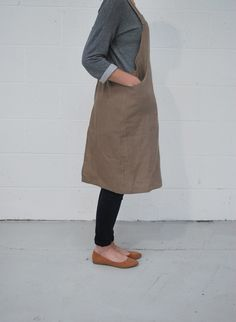 linen crossback apron by stitch massey.