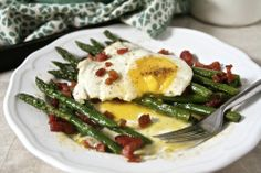 Fried Egg, Asparagus and Crispy Pancetta. I love breakfast for dinner so this would be a fun idea.