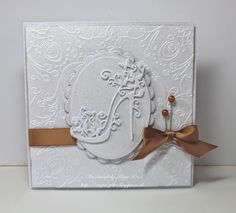 Add simple single bows to your greetings cards to add a real touch of class. You can finish them with pearl hat pins like this card, which has been decorated with Tattered Lace dies. Birthday Cards For Women, Handmade Birthday Cards, Birthday Tags, Pinterest Birthday Cards, Cumpleaños Diy, Tattered Lace Cards, Spellbinders Cards, Square Card, Scrapbooking