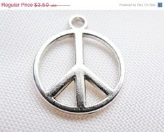 SALE 30pcs Peace Silver Charms Tibetan Antique Silver Peace Charms 14mm x 17mm DIY Charm Jewelry Making Beads & Supplies FREE Combined Shipp