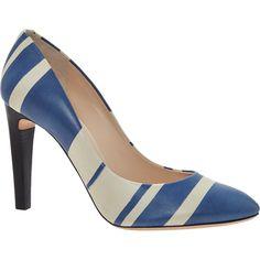 """Chloe"" Blue & Grey Stripe Court Shoes"