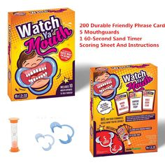 Watch Ya' Mouth Game:Hilarious fun for family and friends. Production of the game is simple: it's just a card game with a few extra parts. Other than building the box it's a relatively straightforward product to make. Watch Ya Mouth Game, Game & Watch, Mouth Guard, Practical Jokes, Family Humor, Hilarious, Funny, Card Games, Watches