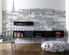 Paris View wall sticker Adding Personality to Modern Interiors: City Never Sleeps Wall Murals by Pixers