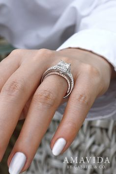 White Essie Nails with 18k White Gold/ Rose Gold Princess Cut Halo Engagement Ring