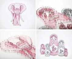 Single thread art illustrations