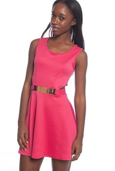 No Doubts Belted Cut-Out Techno Dress - Coral from Top 10 at Lucky 21