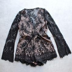 the jetset diaries - dulce deep plunge lace romper in black - shophearts - 1