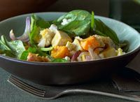 Roasted Squash, Tofu and Spinach Salad