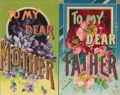 "Lot of 2 Vintage Postcards: ""To Dear Mother"" & ""To Dear Father"" Embossed, -ppp46"