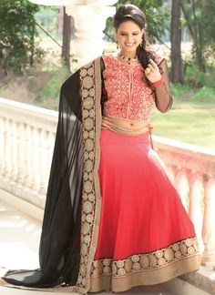Wear this Hot Pink Georgette Embroidered Patch Border Work Resham Work Designer Lehenga Choli. For an upcoming special occasion and let all eyes follow you. This gorgeous Hot Pink color lehenga Choli, comes with a beautiful blouse. Made from  Georgette Fabric. Its having Embroidered, Patch Border Work, Resham Work. It will complement with ewellery and heels.
