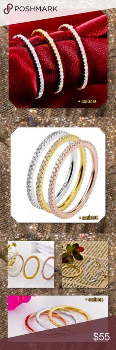 JUST IN🆕3PC Tri Color 925 Silver Pave CZ Ring Set Color:  Tri Color; Gold, Rose Gold, Silver  Material: 100% 925 sterling silver  Gem Type: AAA Cubic Zirconia; Very High Quality  Cut: Round Brilliant Cut (Pave Cut To Sparkle Like A Diamond)  3 PC Stackable Set  Size: 5, 6, 7, 8 9  Width: 4mm  Weight: 3.3 gram  Quantity: 3 pieces  💠💠PRICE IS FIRM UNLESS BUNDLED💠💠 ⭐️⭐️LOWBALL OFFERS WILL BE IGNORED AND MAY GET YOU BLOCKED SINCE PRICE IS FIRM. PLEASE READ LISTING⭐️⭐️ 🌺NO TRADES🌺 Glam…