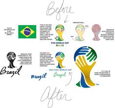 Before and After - logo redesign of Brazil 2014 World Cup logo