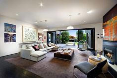Adorable Contemporary House Designs: Cozy Living Room Modern Single Hammock Contemporary Side Of Victorian House