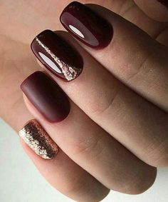 Nail Trends to Try in The cool thing about accent nails is that you don'. - Nail Trends to Try in The cool thing about accent nails is that you don't need a design on - Fall Gel Nails, Winter Nails, Fun Nails, Purple Glitter Nails, Glitter Nail Art, Gold Glitter, Nail Pink, Burgundy Nails, Gold Nails
