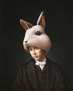 Lewis Carroll as the White Rabbit, 2008, oil on panel, 24 x 18 inches by Steven Kenny