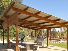 The Town & Park T SHELTER is a park shelter that has been designed to provide coverage for the standard range of Town & Park's table settings and BBQ units.