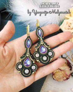 Bead Embroidery Jewelry, Fabric Jewelry, Boho Jewelry, Black Earrings, Wire Earrings, Tassel Earrings, Shibori, Soutache Necklace, Beading Patterns Free