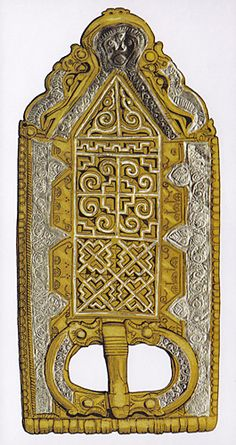 Reconstruction of the buckle and plate from grave 117 at Mucking, Essex.
