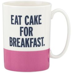 Kate Spade New York Eat Cake For Breakfast Mug ($20) ❤ liked on Polyvore