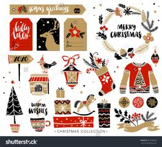 Christmas Hand Drawn Design Elements With Calligraphy. Handwritten Modern Brush Lettering. Gift Tags And Gift Boxes, Wreath, Sweater And Christmas Stocking. Стоковая векторная иллюстрация 337930058 : Shutterstock