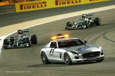 Safety Car, Hamilton and Rosberg at the 2014 Bahrain Grand Prix.