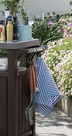 Keter Unity Portable Outdoor Table and Storage Cabinet with Hooks for Grill Accessories-Stainless Steel Top for Patio Kitchen Island or Bar Cart, Espresso Brown Bbq Grill, Grilling, Outdoor Trash Cans, Styling Bookshelves, Grill Station, Patio Kitchen, Entertainment Table, Grill Accessories, Diy Tv