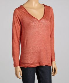High Tea Chili Plantation Linen V-Neck Top by High Tea #zulily #zulilyfinds
