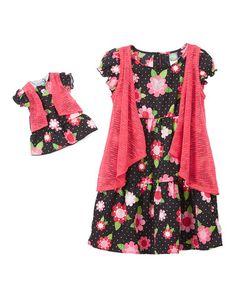 Another great find on #zulily! Fuchsia Floral Tiered Dress & Doll Dress - Toddler & Girls #zulilyfinds