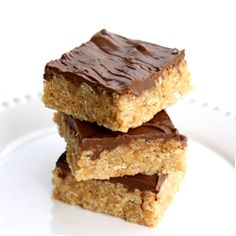 Scotcheroos - easy peanut butter rice crispies with chocolate and butterscotch topping.