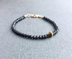Elastic Shiny Black Gemstone Bracelet.Stacking Sparkling Black Tourmaline Stretch Bracelet Sterling Silver Lotus Charm Gift For Her