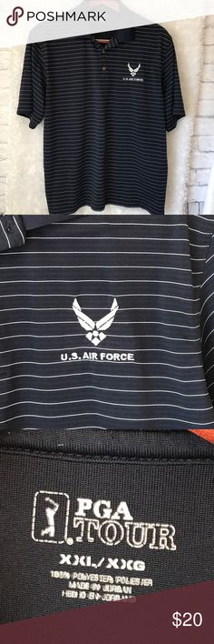 """PGA Tour Air Force Logo Navy Blue Striped Polo Pit to pit measures 27"""" Length 30"""" Gently Used with no flaws PGA Tour Shirts Polos"""
