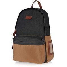 Navy contrast panel backpack - backpacks - bags / wallets - men