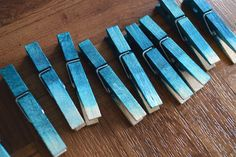 studs and pearls: home diy: Ombre Clothespin Magnets - Because you can never have enough ombre in your life. Made with fabric dye!