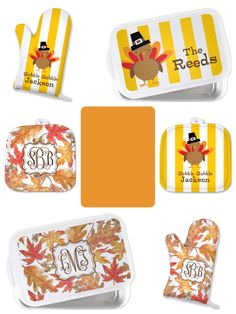 Personalized Oven Mitt Gift Monogrammed Pot Holders ~ Thanksgiving Collection House Warming Gifts ~Monogrammed Thanksgiving Gifts on www.SassySouthernGals.com ~ Monogrammed Gifts & Accessories