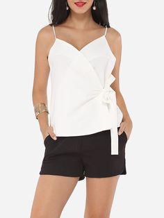 #AdoreWe #FashionMia Camisoles - FashionMia Plain Cross Straps Charming Spaghetti Strap Camisole - AdoreWe.com